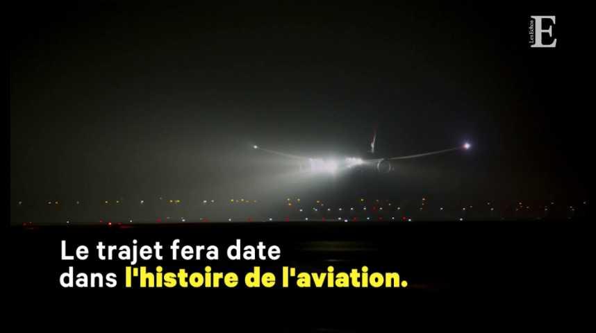 Illustration pour la vidéo Qantas boucle le 1er vol direct entre l'Europe et l'Australie