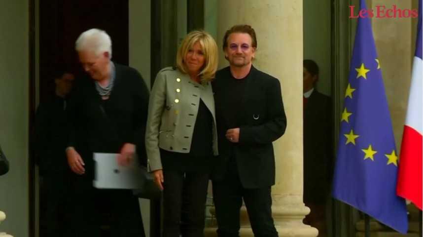 Illustration pour la vidéo Humanitaire :  Bono se dit enchanté de sa rencontre avec Macron