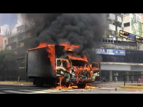 Protesters set truck ablaze in Venezuelan capital
