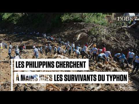 Typhon Mangkhut : les Philippins cherchent à mains nues des survivants ensevelis
