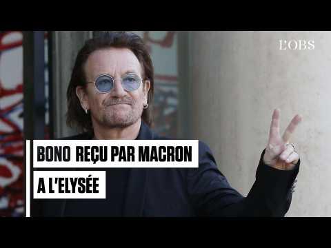 Le chanteur Bono reçu par Emmanuel Macron à l'Elysée