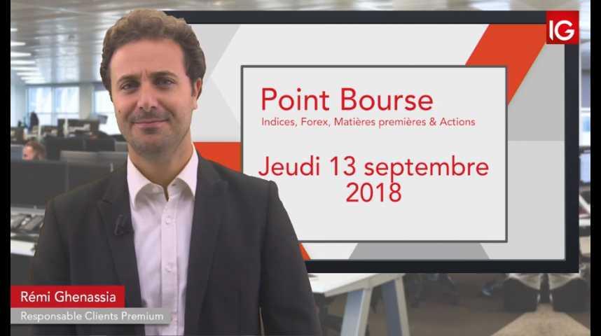 Illustration pour la vidéo Point Bourse IG du jeudi 13 septembre 2018