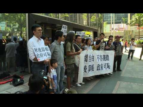 Hong Kong activists protest in support of banned FT journalist