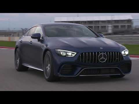 Mercedes AMG GT 63 S 4MATIC+ Driving on the track in Brilliant blue