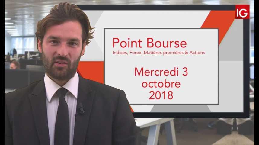 Illustration pour la vidéo Point Bourse IG du Mercredi 3 octobre