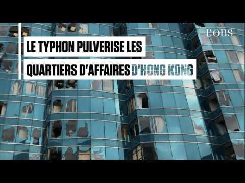 Hong Kong : les quartiers d'affaires dévastés par le super typhon Mangkhuto