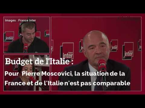 Budget de l'Italie : Pour  Pierre Moscovici, la situation de la France et de l'Italie n'est pas comparable