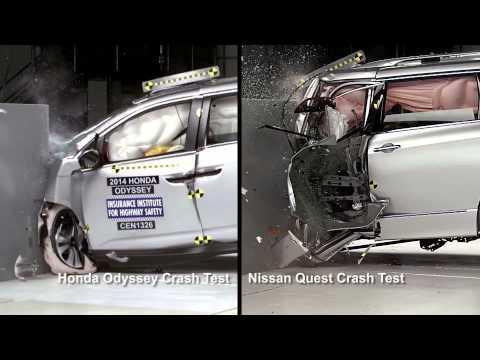 2014 honda odyssey insurance institute for highway safety crash test video automototv sur. Black Bedroom Furniture Sets. Home Design Ideas