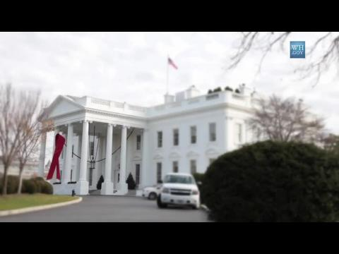 White House Hangs World Aids Day Red Ribbon: Time-Lapse