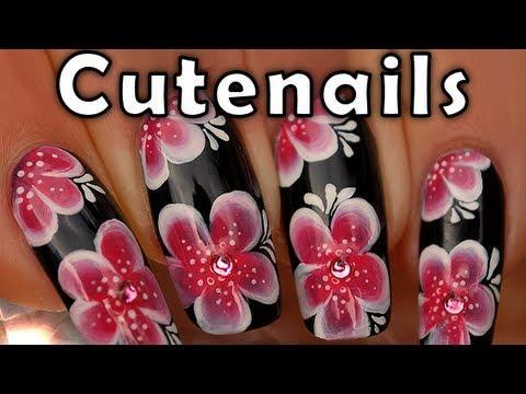 Red & white Asian flowers one stroke nail art tutorial