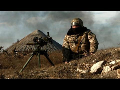 Ukrainian soldiers man frontline in Donetsk region