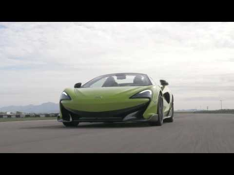 McLaren 600LT Spider in Lime Green on the track