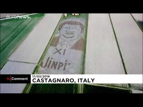 Italy: Land artist ploughs giant portrait of Xi Jinping with tractor