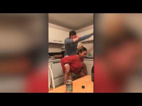 Drunk friends dancing fail
