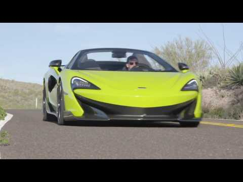 McLaren 600LT Spider in Lime Green Driving in the country