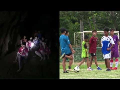Thai cave boys plays for coach's newly-minted football team