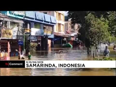 Heavy rains in Indonesia hit the city of Samarinda