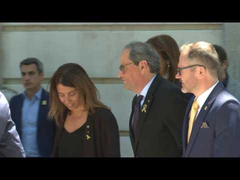 Catalonia's separatist leader Quim Torra arrives at Spanish Supreme Court