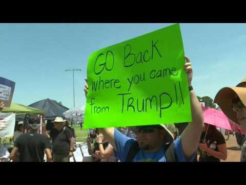 Protesters gather ahead of Trump's arrival in El Paso