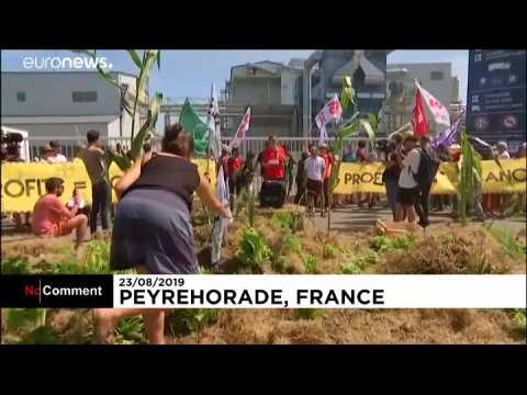 Activists protest outside French Monsanto factory ahead of G7