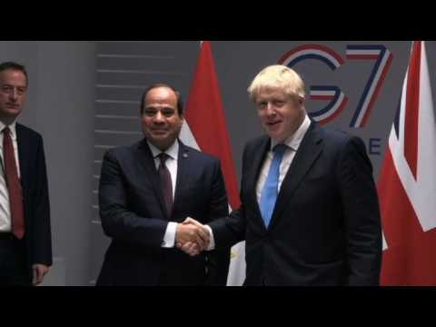 G7: Boris Johnson meets Egyptian President Sissi