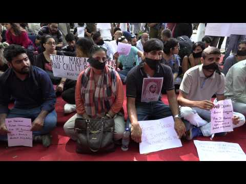 Students hold protest against Kashmir status removal, lockdown