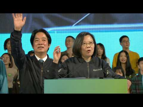 Taiwan ruling DPP party leader Tsai Ing-wen holds election eve rally