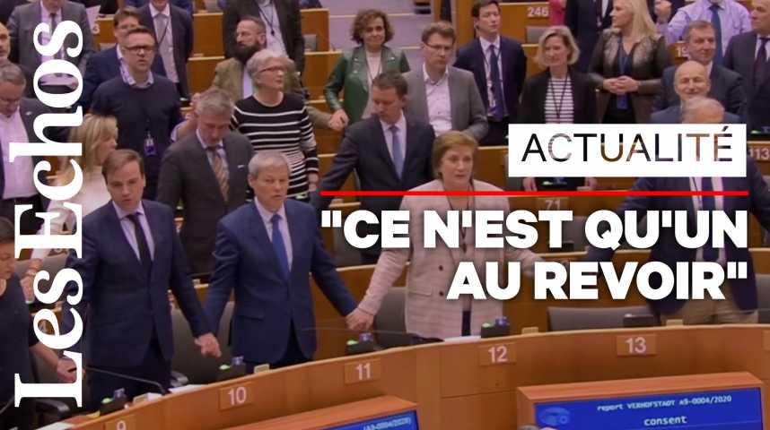 Illustration pour la vidéo L'émouvant chant d'adieu aux Britanniques du parlement européen