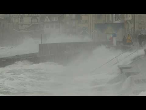 Storm Ciara: wind and waves on Wimereaux pier in Northern France