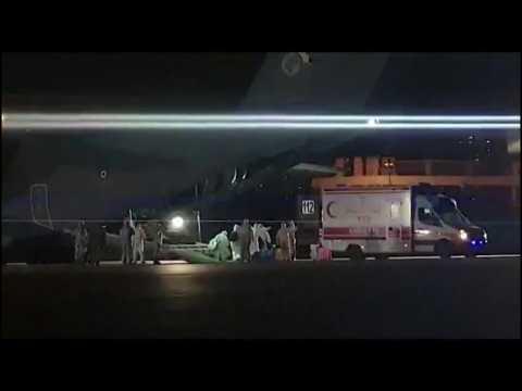 Coronavirus: Evacuees disembark Turkish cargo plane in Ankara