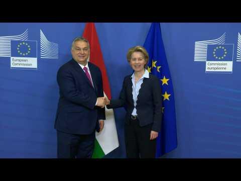 EU's Ursula von der Leyen welcomes Hungarian PM Viktor Orban to Brussels
