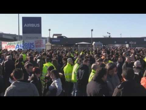 Airbus workers protest against job cuts in Spain