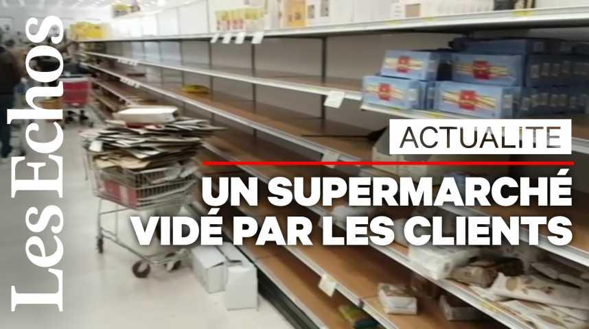 Illustration pour la vidéo Coronavirus en Italie : les rayons d'un supermarché pris d'assaut