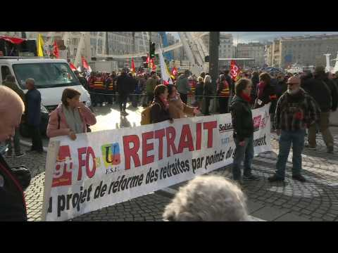 March against pension reform in Marseille on 43rd day of strike