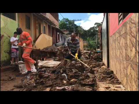 Brazilians clean up debris after floods and record rains