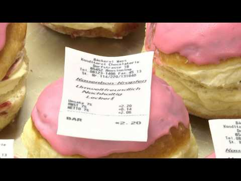 A pastry chef in Germany offers edible sales receipts