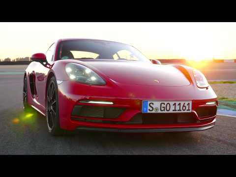 Porsche 718 Boxster GTS 4.0 Exterior Design on the track in Carmine Red