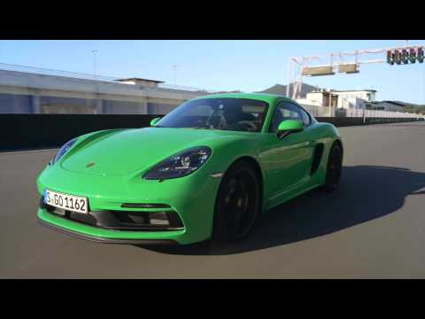 The new Porsche 718 Cayman GTS 4.0 Track Driving in Phyton Green