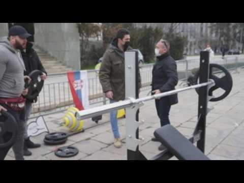 Gym instructors protest in front of Serbian Parliament against closure by Covid
