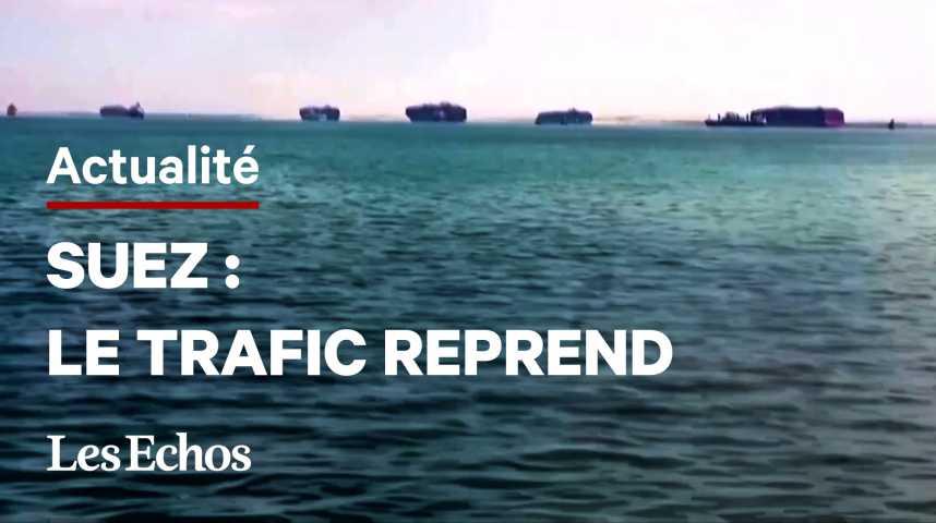 Illustration pour la vidéo Le trafic reprend sur le canal de Suez après la remise à flot de l'Ever Given