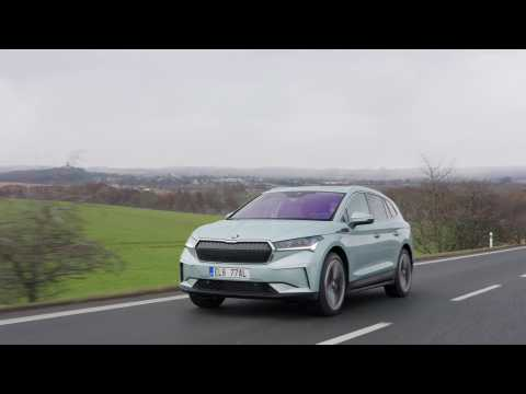 The new SKODA ENYAQ iV in Arctic Silver Driving Video