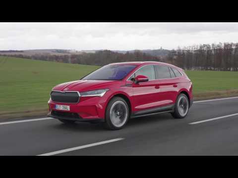 The new SKODA ENYAQ iV in Velvet Red Driving Video