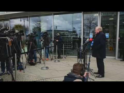 Press conference during CDU/CSU closed door meeting in Berlin