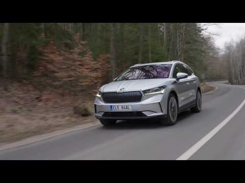 The new SKODA ENYAQ iV in Brilliant Silver Driving Video