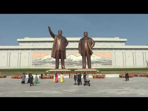 North Korea marks founder Kim Il Sung's birthday with flowers and performances
