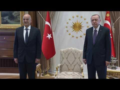 Turkey's Erdogan receives Greek Foreign Minister Nikos Dendias