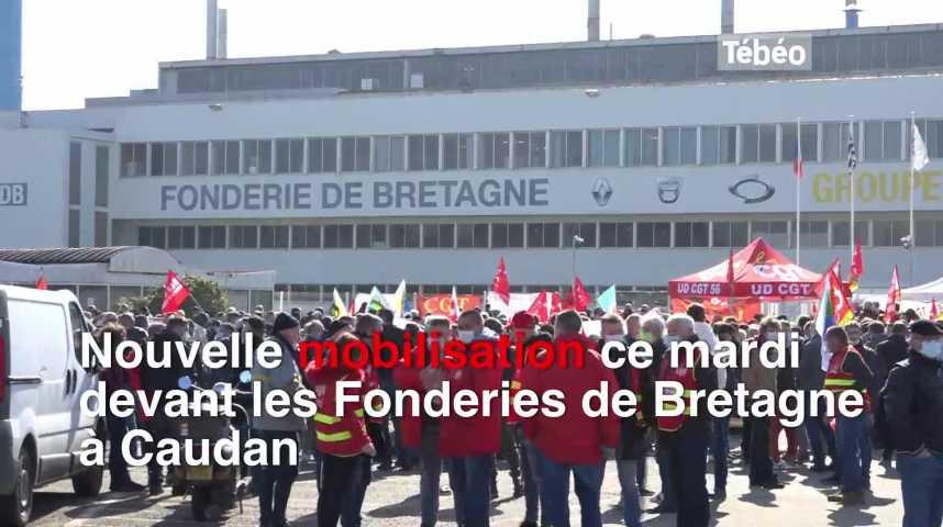Thumbnail Une centaine de manifestants devant la Fonderie de Bretagne