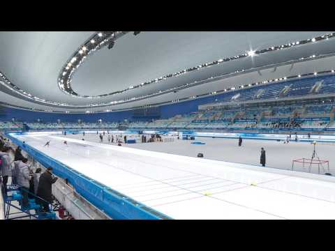 Beijing Winter Olympics: Speed skating test event at Ice Ribbon