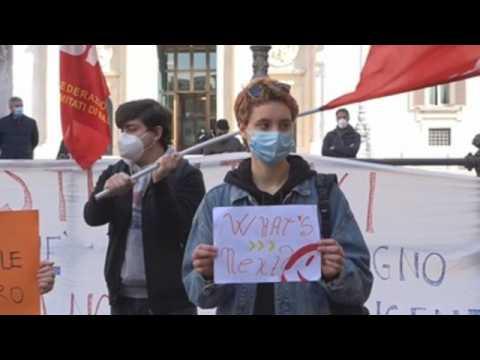 Protest against online education, public transport strike in Rome