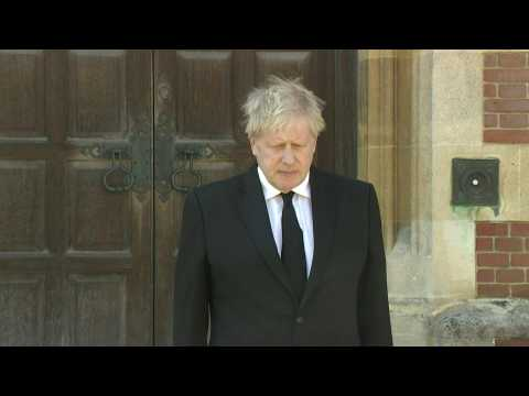 Prime Minister Boris Johnson holds a one minute silence in tribute to Prince Philip